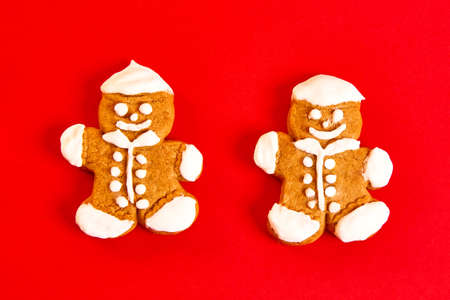 sweet gingerbread man cookies. Concept of Christmas and New Year holiday background for greeting card Stock Photo
