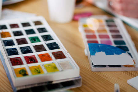 set of watercolor paints isolated on white background Stock Photo