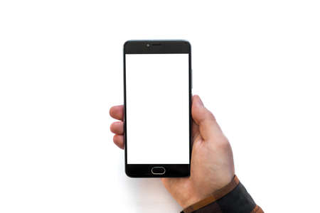 Hand holding black smartphone with blank screen isolated on white background isolated medical use THC and CBD