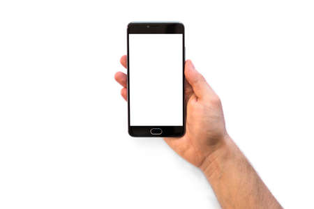 A man holding a smartphone with white blank screen to montage your application isolated on white background. medical use THC and CBD