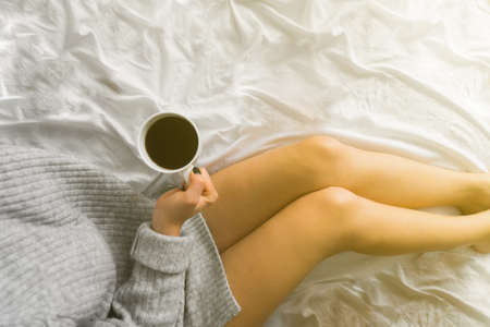 tea in bed in the morning copy space top view comfort Stock Photo