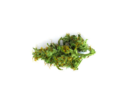 Cannabis bud top view isolated white background weed