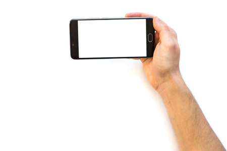 A man holding a smartphone Horizontally with white blank screen to montage your application isolated on white background. digital