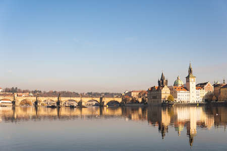 Prague, Czech Republic. Charles Bridge (Karluv Most) Old Town Tower Vltava river