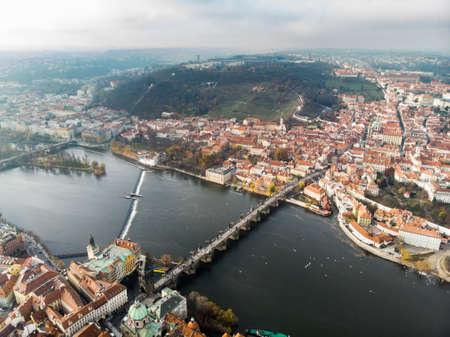 Prague, Czech Republic. Charles Bridge (Karluv Most) Old Town Tower Vltava river