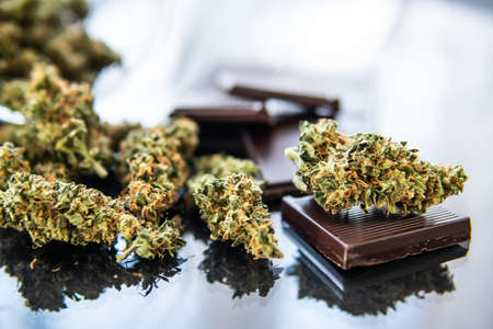 Concept of chocolate with cannabis herb CBD. Treatment of medical marijuana for use in food, black background. Chocolate with cannabis and buds of marijuana on the table.