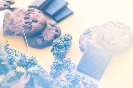 Cannabis CBD herb Chocolate and Cookies. Cookies and Chocolate with weed and buds of marijuana on the table. Treatment of medical marijuana for use in food, yellow background. light leaks Standard-Bild - 125025327