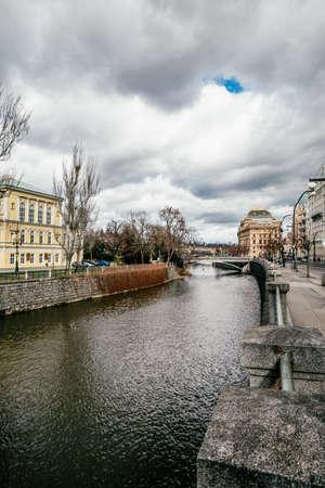 Detail of the Prague in the Old Town. Czech Republic . Charles Bridge over Vltava river. 免版税图像