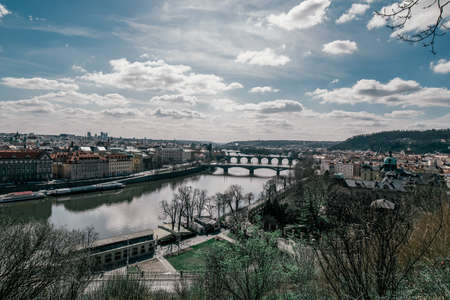 Detail of the Prague in the Old Town. View of Prague. Charles Bridge