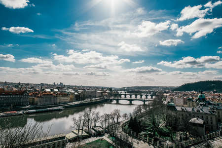 Detail of the Prague in the Old Town. View of Prague. Charles Bridge over