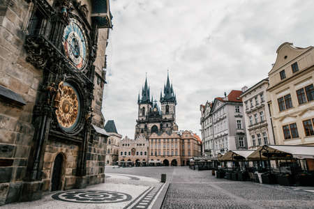 Detail of the Prague in the Old Town. Old Town square with Tyn Church. View of Prague. 免版税图像