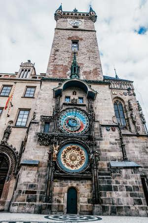 Astronomic clock View of Prague. Detail of the Prague in the Old Town. Czech Republic. Vertical Shot 免版税图像