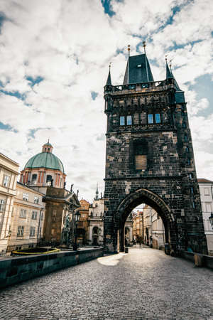 View of Prague. Detail of the Prague in the Old Town. Czech Republic. Vertical Shot
