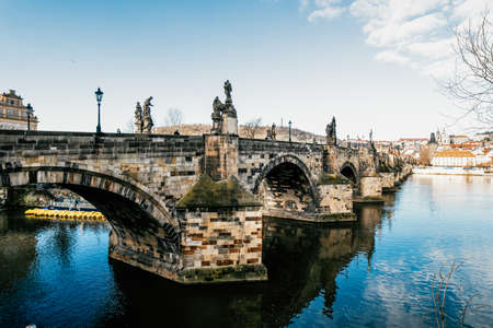 Charles Bridge over Vltava river. View of Prague. Detail of the Prague in the Old Town. Czech Republic.