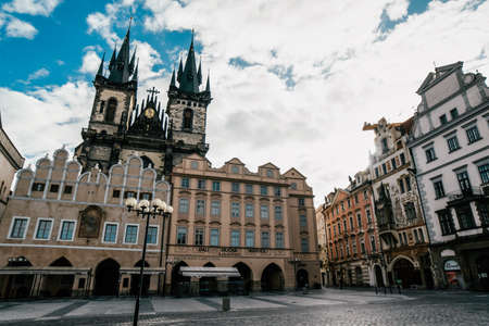 Old Town square with Tyn Church. View of Prague. Detail of the Prague in the Old Town. Czech Republic. 免版税图像