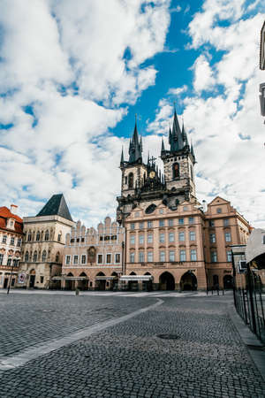 Old Town square with Tyn Church. View of Prague. Detail of the Prague in the Old Town. Czech Republic. Vertical Shot 免版税图像