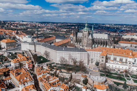 castle St Vitus cathedral Old Town square with Tyn Church. View of Prague. Detail of the Prague in the Old Town. Czech Republic. Aerial shot
