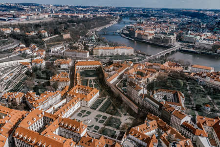 Charles Bridge over Vltava river. View of Prague. Detail of the Prague in the Old Town. Czech Republic. Aerial shot
