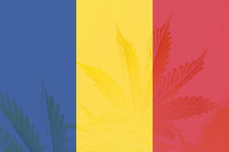 leaf of cannabis marijuana on the flag of Romania. Cannabis legalization in the Romania. Weed Decriminalization in Romania. Medical cannabis in the Romania.