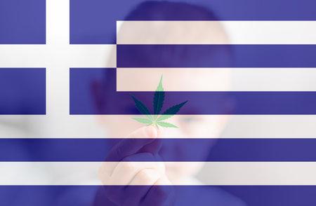 Medical cannabis in the Greece. leaf of cannabis marijuana on the flag of Greece. Cannabis legalization in the Greece. Weed Decriminalization in Greece.
