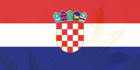 Weed Decriminalization in Croatia. Cannabis legalization in the Croatia. leaf of cannabis marijuana on the flag of Croatia. Medical cannabis in the Croatia.