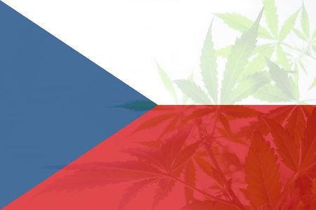 Cannabis legalization in the Czech. leaf of cannabis marijuana on the flag of Czech. Medical cannabis in the Czech. Weed Decriminalization in Czech. 免版税图像