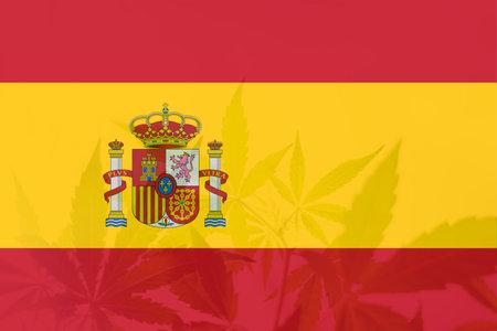 Weed Decriminalization in Spain. Cannabis legalization in the Spain. leaf of cannabis marijuana on the flag of Spain. Medical cannabis in the Spain.