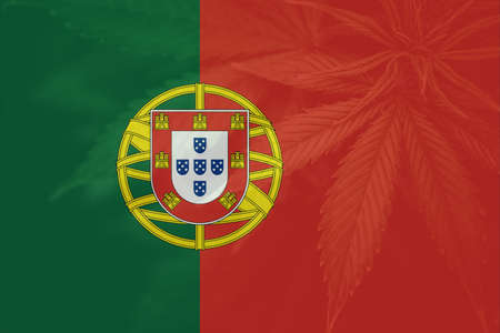 Cannabis legalization in the Portugal. leaf of cannabis marijuana on the flag of Portugal. Weed Decriminalization in Portugal. Medical cannabis in the Portugal. 免版税图像