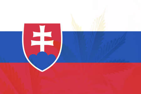 Cannabis legalization in the Slovakia. Medical cannabis in the Slovakia. leaf of cannabis marijuana on the flag of Slovakia. Weed Decriminalization in Slovakia. 免版税图像