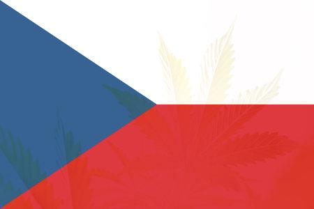 Weed Decriminalization in Czech. Cannabis legalization in the Czech. leaf of cannabis marijuana on the flag of Czech. Medical cannabis in the Czech.