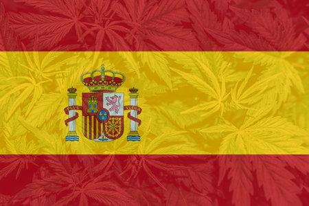 Medical cannabis in the Spain. Weed Decriminalization in Spain. Cannabis legalization in the Spain. leaf of cannabis marijuana on the flag of Spain.