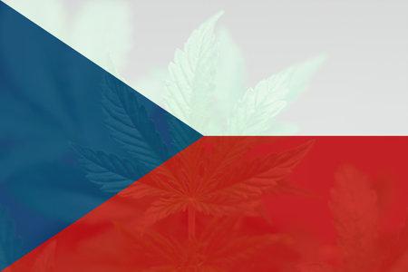 Medical cannabis in the Czech. Weed Decriminalization in Czech. Cannabis legalization in the Czech. leaf of cannabis marijuana on the flag of Czech.