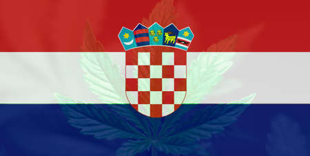 leaf of cannabis marijuana on the flag of Croatia. Medical cannabis in the Croatia. Weed Decriminalization in Croatia. Cannabis legalization in the Croatia.