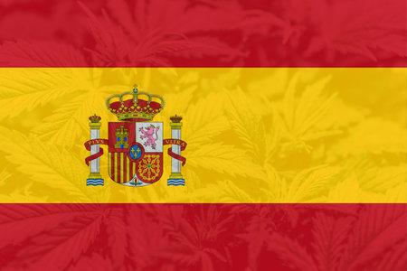 leaf of cannabis marijuana on the flag of Spain. Medical cannabis in the Spain. Weed Decriminalization in Spain. Cannabis legalization in the Spain.