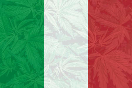 Medical cannabis in the Italy. Weed Decriminalization in Italy. leaf of cannabis marijuana on the flag of Italy. Cannabis legalization in the Italy.