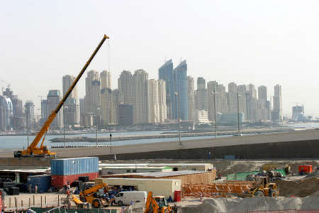 Construction area and skyscrapers in Dubai, United Arab Emirates. Dubai was the fastest developing city in the world.