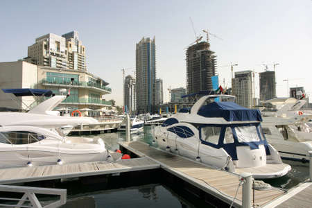 Yacht Club at Dubai Marina in Dubai, United Arab Emirates. Dubai was the fastest developing city in the world.
