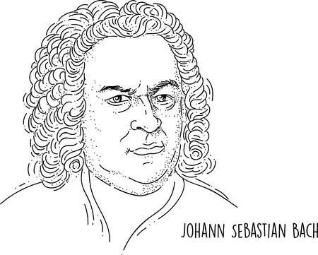 Johann Sebastian Bach Line Art Portrait