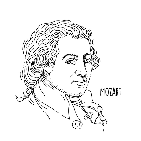 Wolfgang Amadeus Mozart Line Art Portrait