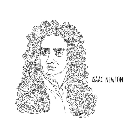 Isaac Newton Line Art Portrait