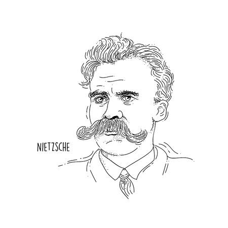 Retrato de arte lineal de Friedrich Nietzsche
