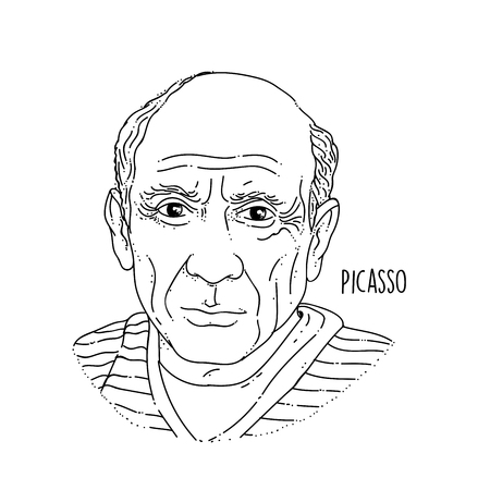 Pablo Picasso Line Art Portrait Illustration