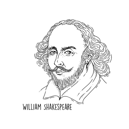 William Shakespeare Line Art Portrait Vettoriali