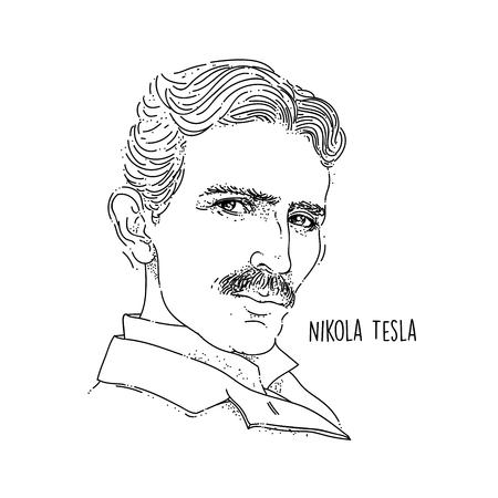 Nikola Tesla Line Art Portrait Foto de archivo - 104697502
