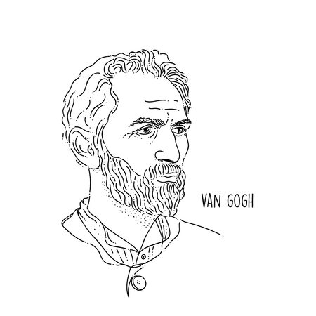 Van Gogh Line Art Portrait Illusztráció