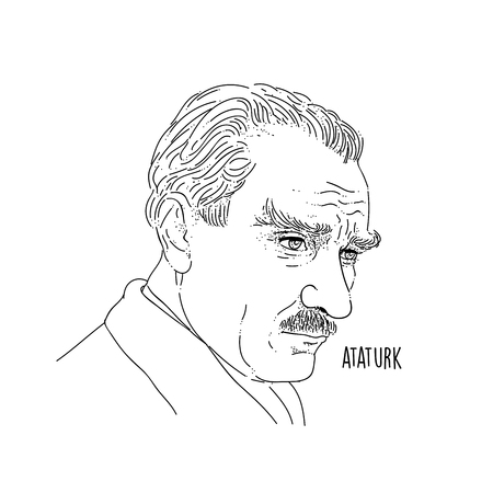 Mustafa Kemal Ataturk Line Art Portrait Illusztráció