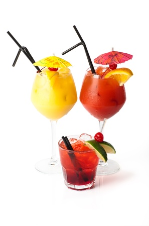 Three coctails isolated on white background photo
