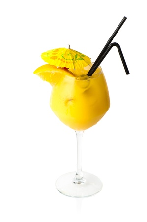 Yellow coctail with decoration isolated on white background photo
