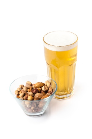Beer ang nuts isolated on white background Stock Photo - 10732786