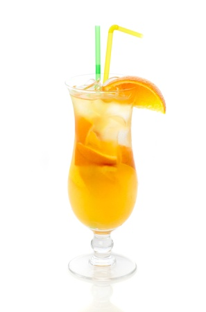 Cocktail with orange isolated on white background photo